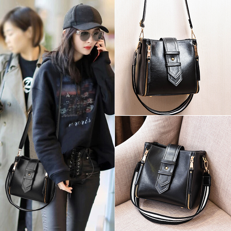 Small bags 2017 autumn and winter new wave of Korean fashion retro messenger bag shoulder strap wide bucket handbag shoulder bag