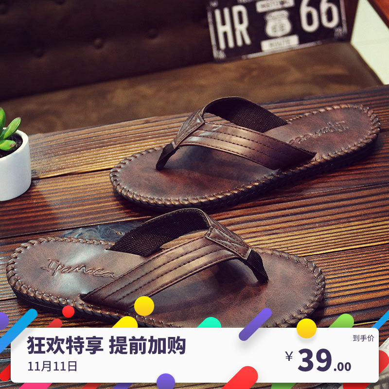 European and American fashion mens flip flop skin British style sandals mens slippers mens clip foot anti slip beach shoes camel color