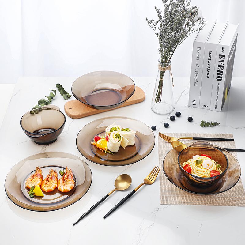 【网红爆款】法国进口多莱斯双人6件套钢化玻璃碗盘耐摔餐具套装图片