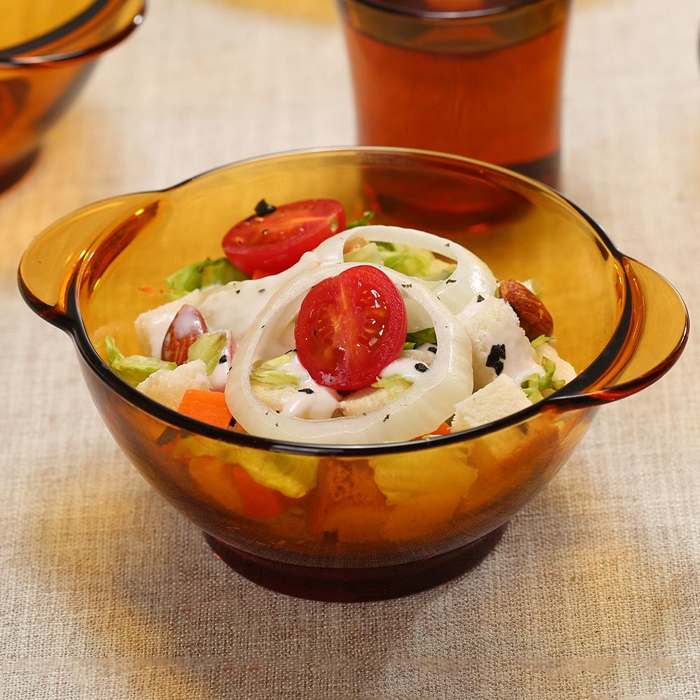 法國 DURALEX鋼化玻璃沙拉碗 透明大號甜品水果碗微波泡麵碗