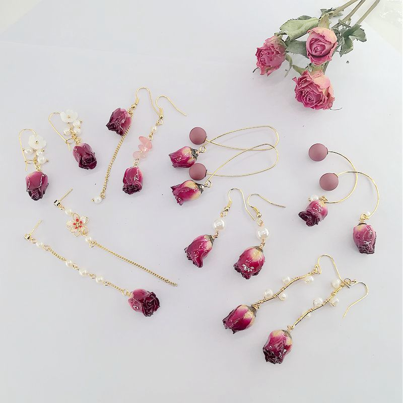 New fashion, versatile, eternal flower earrings, super immortal natural pearl earrings