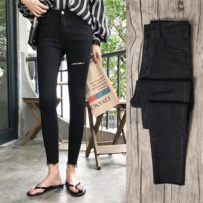黑色破洞牛仔裤女2020年春装新款高腰修身显瘦紧身铅笔小脚九分裤