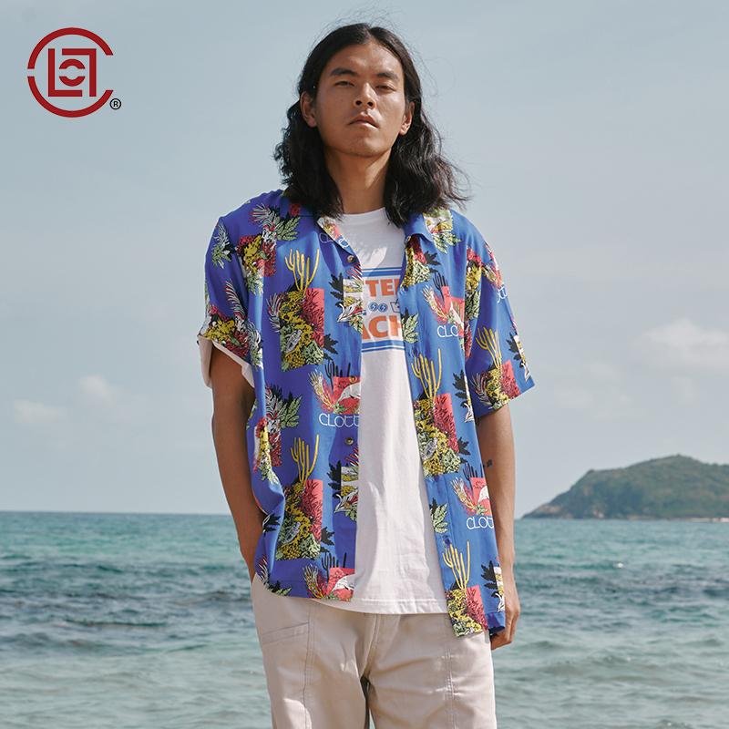 【CLOT CLOTTEE】彩色印花双袋短袖衬衫海滩系列蓝色陈冠希主理