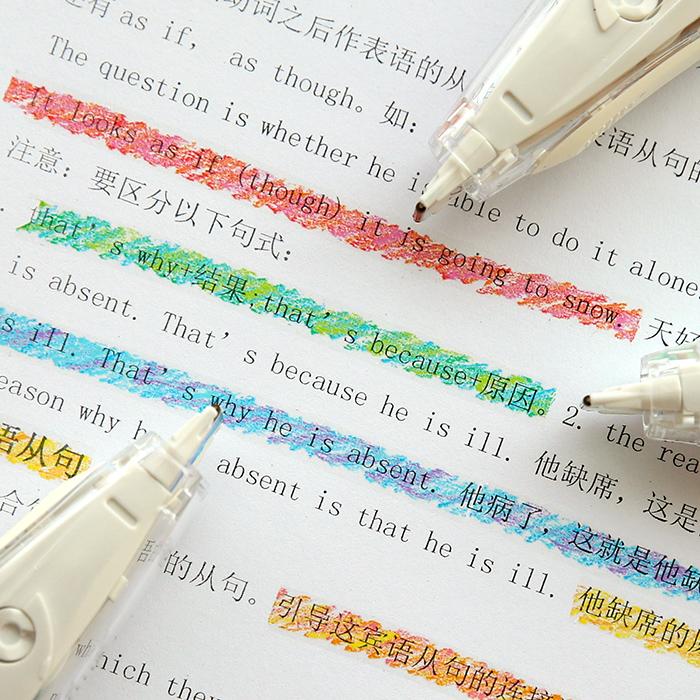 日本普乐士PLUS蜡笔水彩文字荧光修饰带创意可爱小清新装饰带日记手账DIY划重点标记彩色花边修正带
