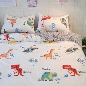 卡通可爱恐龙双人床上四件套全棉纯棉被套儿童宿舍单人三件套床单
