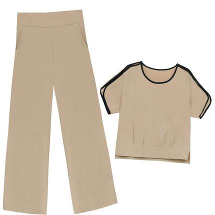 两件套夏装2019新款气质大码阔腿裤