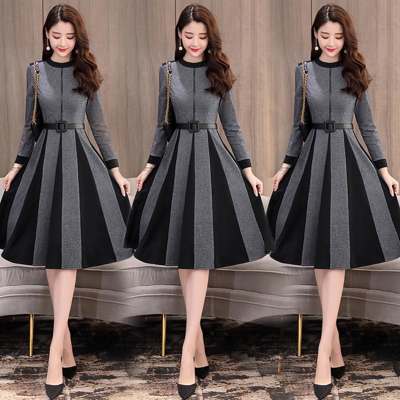 连衣裙春秋2019年新款有女人味适合妈妈穿的高端气质显瘦流行裙子