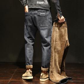 加绒加厚男宽松直筒加棉休闲牛仔裤
