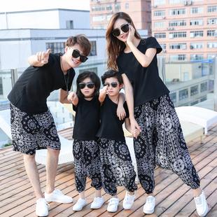 網紅親子裝夏2020新款潮一家三口四口母子母女全家裝洋氣沙灘套裝