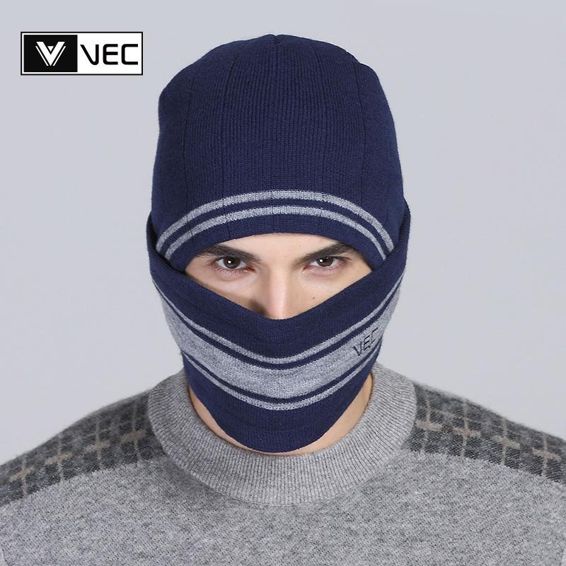 vec针织帽子男士冬季新款加厚骑车防风护耳护口羊毛毛线帽潮