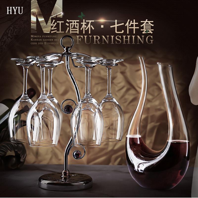 红酒杯套装一对 醒酒器杯架家用欧式高脚杯子葡萄酒杯4/6只装