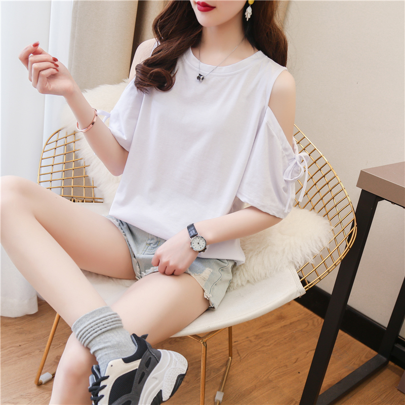 Short sleeve T-shirt womens summer 2020 new care machine sexy off the shoulder niche design top net red student fashion