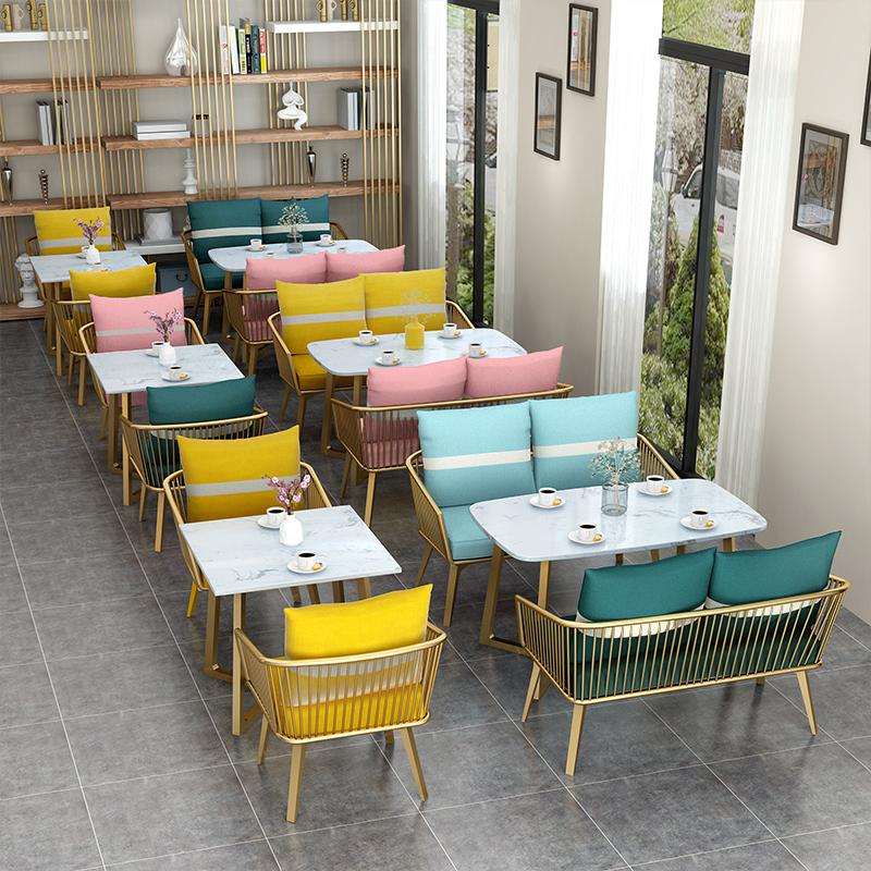 北欧ins网红简约现代餐饮奶茶店卡座沙发双人甜品咖啡厅桌椅组合