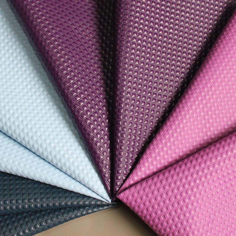 特价钻石纹皮革 纯色立体方格人造革硬包装饰沙发箱包手袋DIY面料