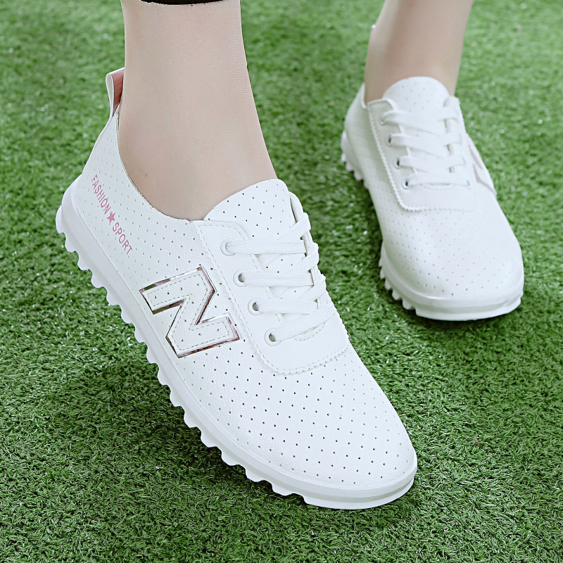 Spring and summer casual shoes womens shoes Korean version of tide board shoes student sports shoes flat bottomed air permeable hollow out small white shoes womens single shoes