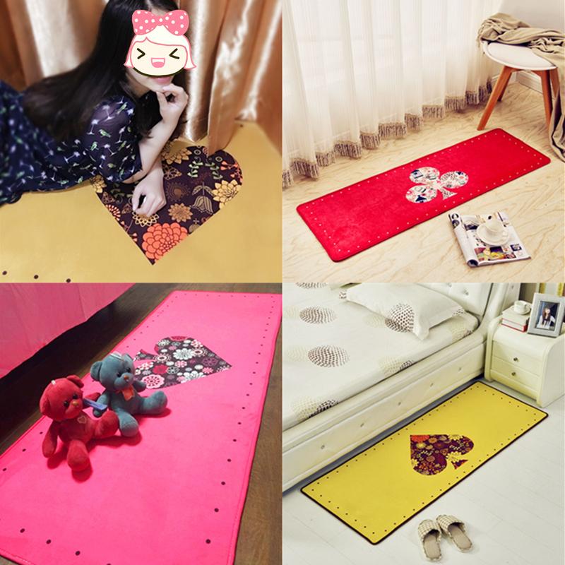 创意扑克可爱地毯卧室床边房间飘窗长方形 厨房地垫长条防滑吸水