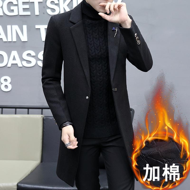 男士风衣2017新款帅气韩版加绒加厚毛呢大衣男冬季中长款呢子外套