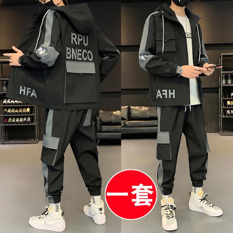 外套男韩版潮流2020秋季休闲男装一套搭配帅气工装夹克痞帅套装男
