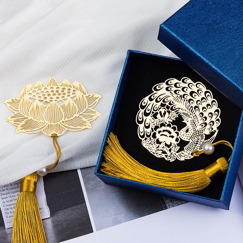 9.90元包邮天色镂空创意精致黄铜金属古典书签