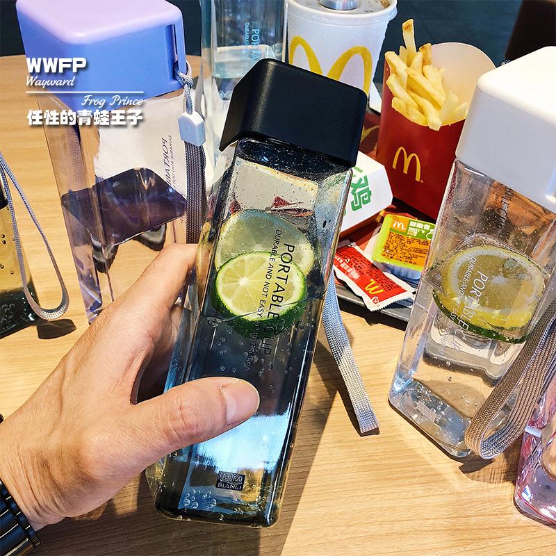 方形简约水杯便携耐摔随手杯塑料个性杯子透明防漏带盖创意小清新