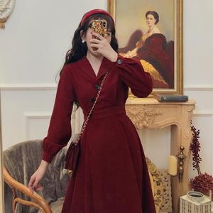 贰羊原创设计红色旗袍改良版连衣裙复古赫本风法式少女连衣裙秋冬