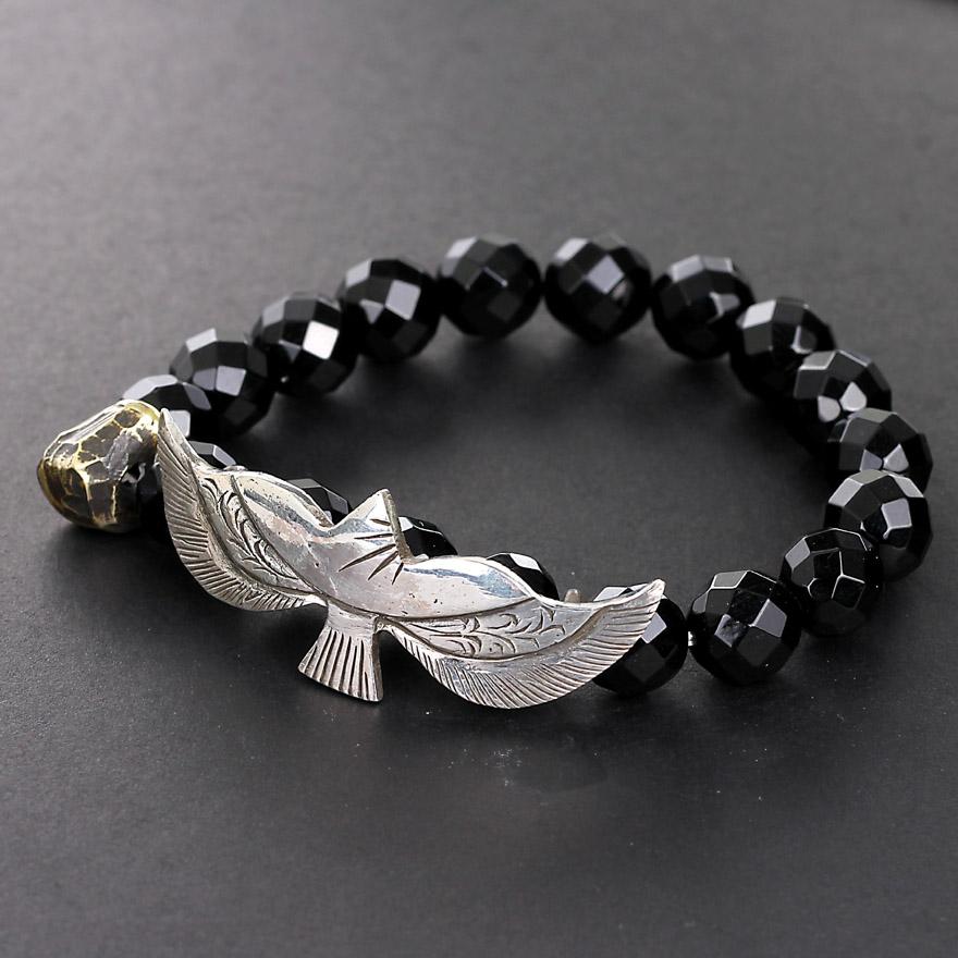 オリジナルデザイン「自由」純銀の雄鷹男性の黒い曜石のブレスレットの個性的なファッションデザイン