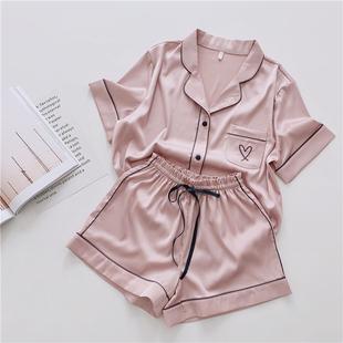 INS爱心刺绣短袖短裤丝绸睡衣女夏薄款甜美少女宽松两件套家居服
