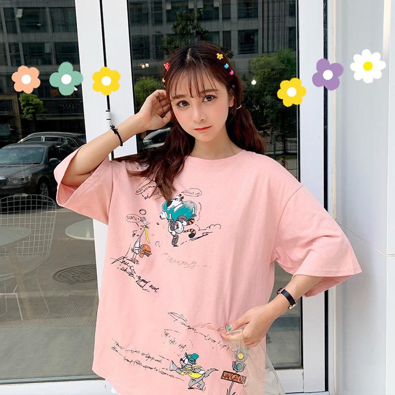 4064#实拍慵懒风ins短袖t恤女2019新款韩版潮学生怪味丧系上衣服