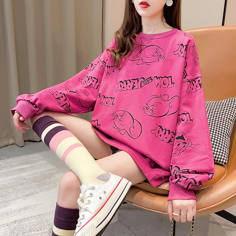实拍实价 26%棉74%聚酯纤维 2020秋季宽松卡通印花卫衣女潮