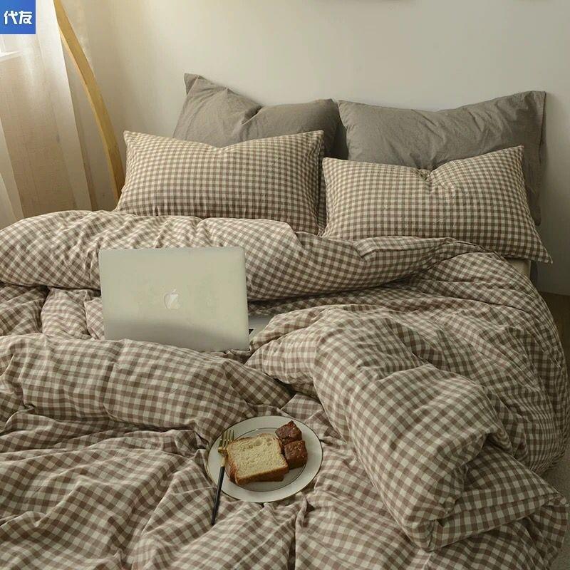 タオバオ仕入れ代行-ibuy99 床上用品 四件套不加绒简约日式驼色格子被学生寝室纯色被床单三床上用品