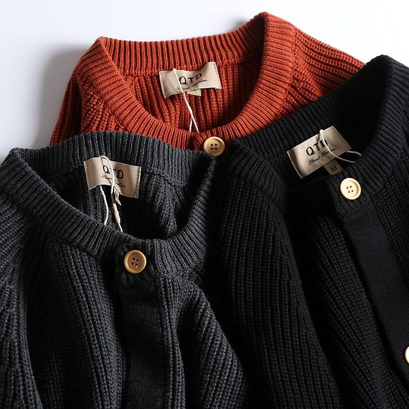 Japanese autumn simple mens heavyweight thick cotton sweater versatile casual cardigan solid round neck sweater coat