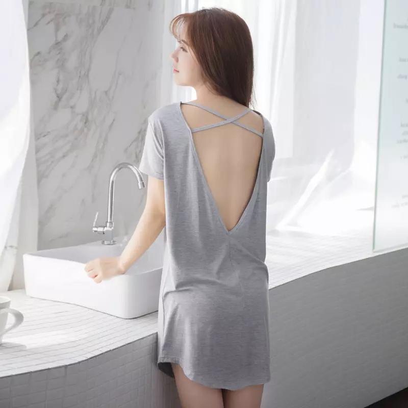 夏带胸垫莫代尔棉性感夏季孕妇睡裙