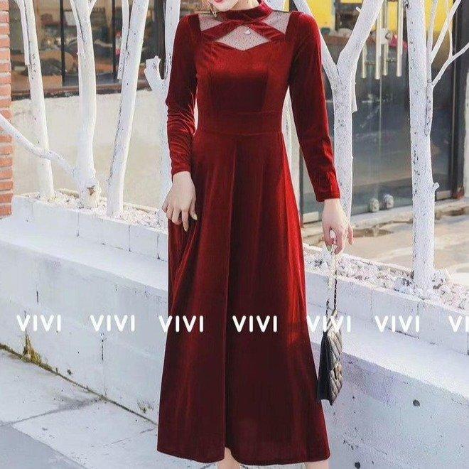冬季上新新款連衣裙單穿2019冬季新款連衣裙時尚百搭款新款金絲絨