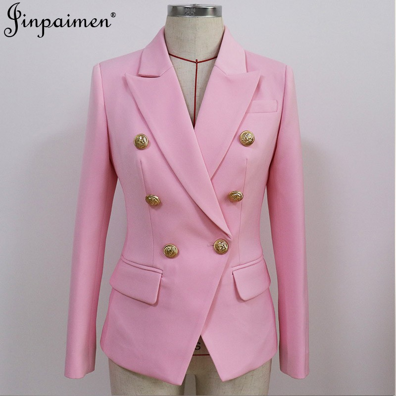 European and American large size womens clothing autumn 2020 New Ladies white light pink metal lion head button double breasted suit coat