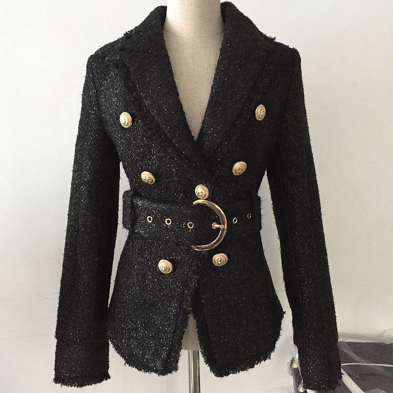 Autumn and winter 2021 European and American star style little fragrant celebrity bright silk wool double breasted slim suit Lace Up Jacket