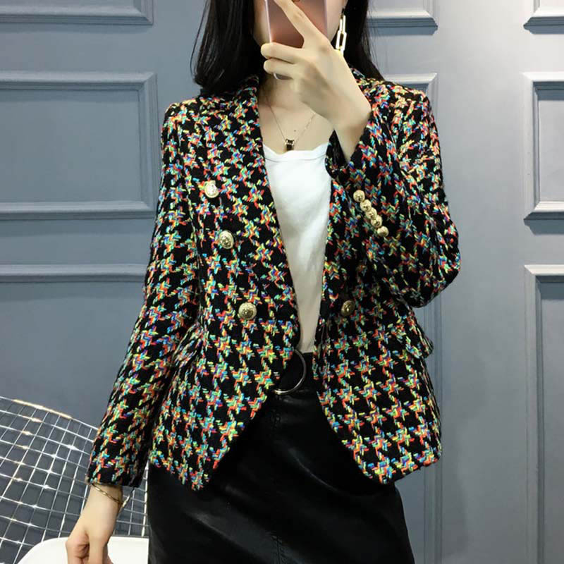 Small fragrant tweed coat womens 2020 new light luxury metal buckle double breasted thousand bird pattern tweed short coat
