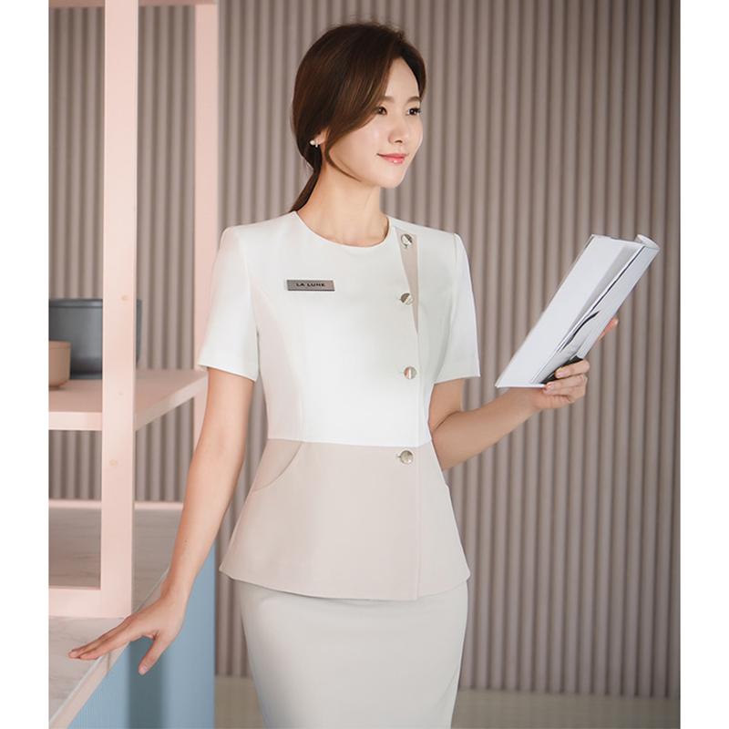 春夏新款职业女套装裙整形医院前台导购收银化妆品专柜销售工作服