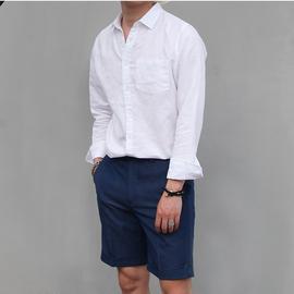 双生道 长袖亚麻衬衫男韩版宽松衬衣棉麻纯色休闲白衬衫夏季薄款