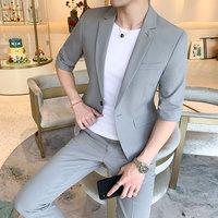 夏季男七分袖中袖西服套装男薄款短袖小西装两件套潮流韩版九分裤