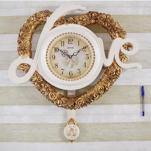 丽盛挂钟 心形钟表欧式艺术时尚奢华复古客厅卧室静音石英钟挂表