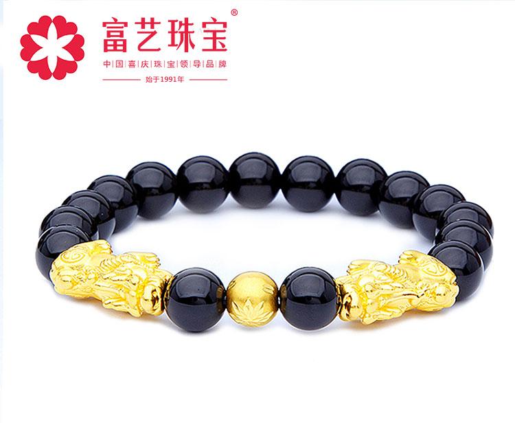 富艺珠宝3D硬黄金足金999男女款貔貅转运珠黑玛瑙手链手串