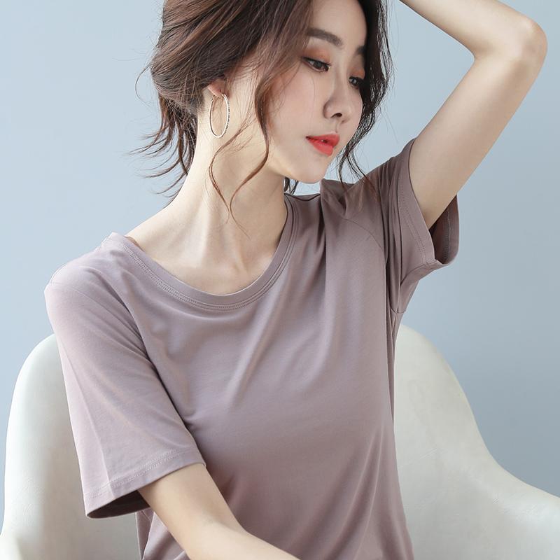 莫代尔短袖t恤女宽松夏季ins潮网红白色时尚洋气韩版纯色女士体恤图片