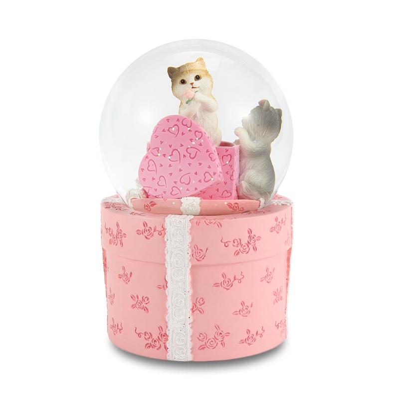 JARLL 爱的礼物水晶球旋雪花转音乐盒创意女生生日礼物猫咪八音盒