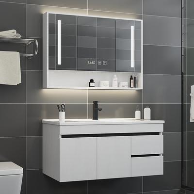 北欧实木浴室柜组合现代简约洗脸洗手台盆小户型卫生间洗漱台镜柜