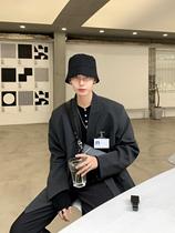 ESCMANSTUDIO自制韓新品設計師定制款oversize細條紋西裝外套