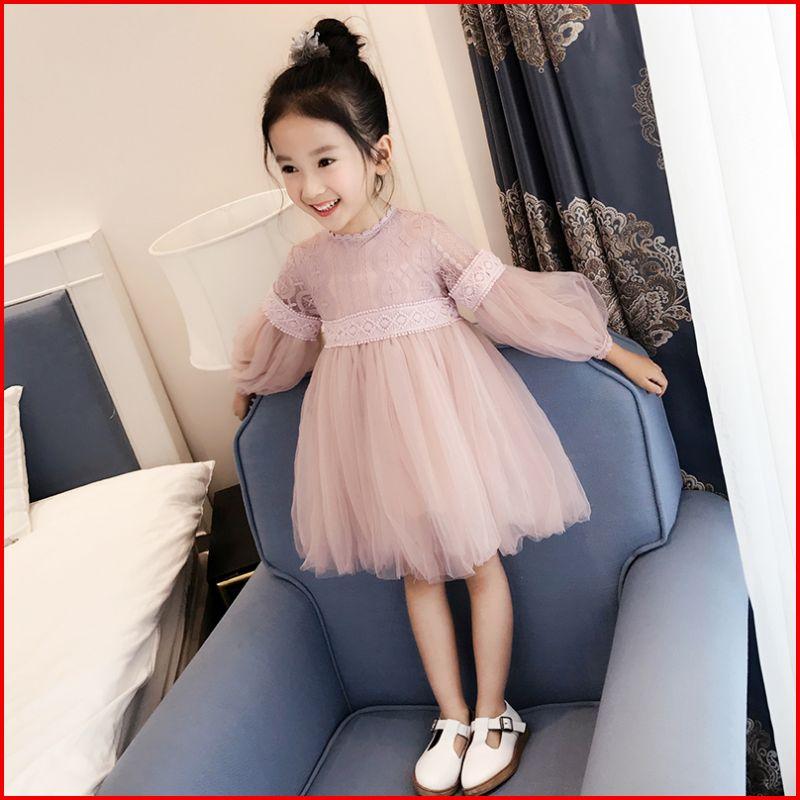 I女童蕾丝连衣裙子纯棉长袖春秋夏韩国儿童装粉色公主蓬蓬裙小学