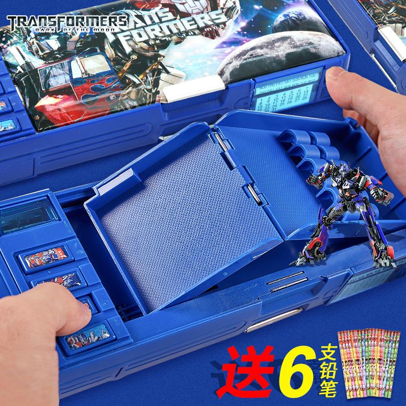 变形金刚多功能儿童文具盒男童塑料创意学霸自动小学生铅笔盒男孩热销255件假一赔三