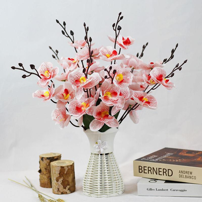 仿真花蝴蝶兰假花家居客厅高档装饰品干花餐桌摆件婚庆花瓶插花