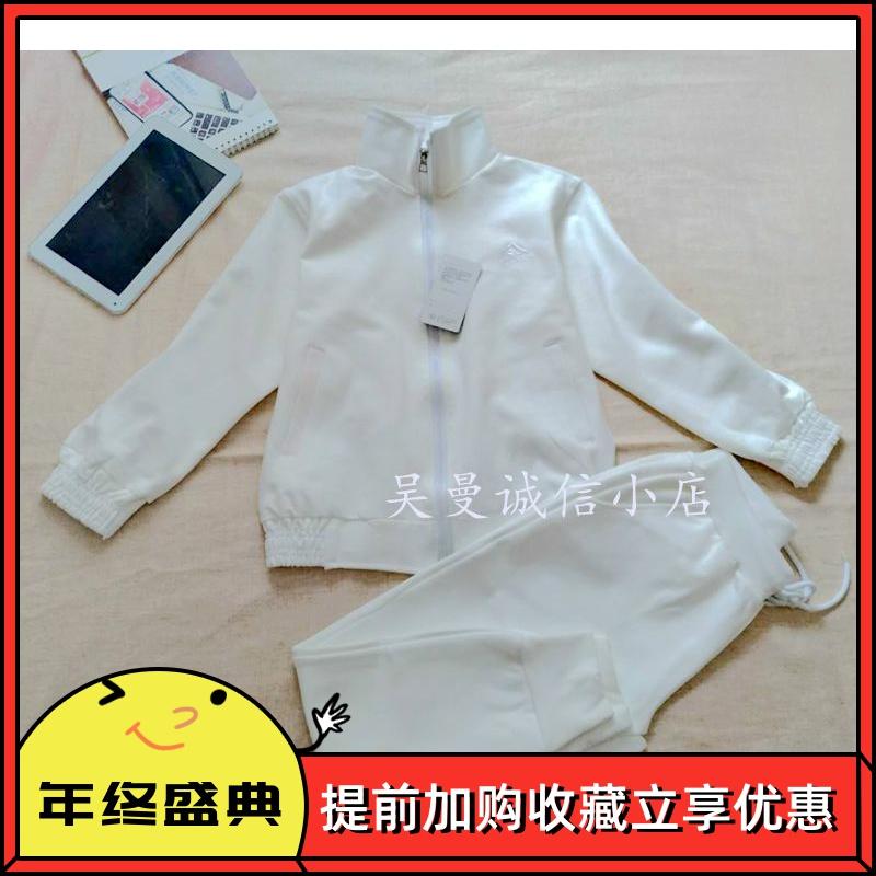 童装白衣服男女童纯棉新中大童小学生校服套装白色运动服套装团购