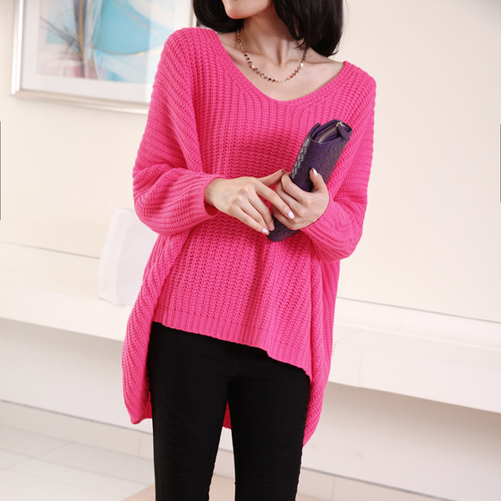 250 kg fat sister rose sweater autumn oversize womens V-neck bat sleeve loose fat woman Pullover Sweater